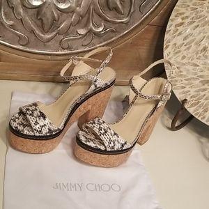 Jimmy Choo Naylor Elaphe Snakeskin Cork Sandal
